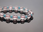 海水藍寶+芙蓉粉晶手鍊