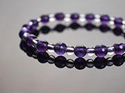 亮角面紫水晶+白水晶手鍊